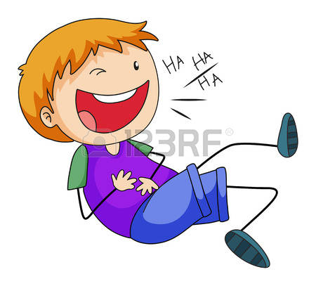 Closeup happy boy laughing alone Illustration