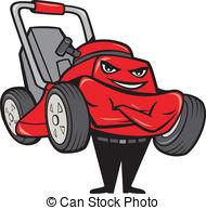 ... Lawn Mower Man Standing Arms Folded Cartoon - Illustration.