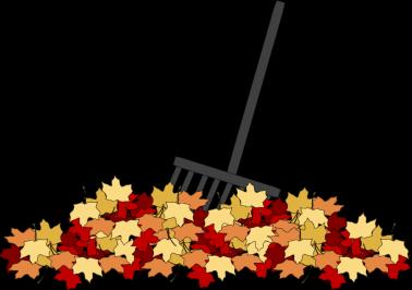 Leaves and Rake Clip Art Image