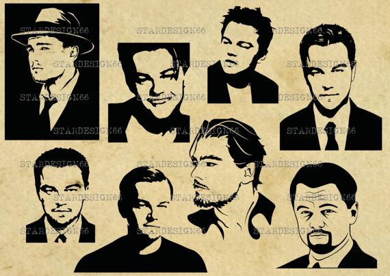 Digital SVG PNG JPG Leonardo DiCaprio, silhouette, vector, clipart, instant  Leonardo DiCaprio Clipart from STARDESIGN66 on Etsy Studio