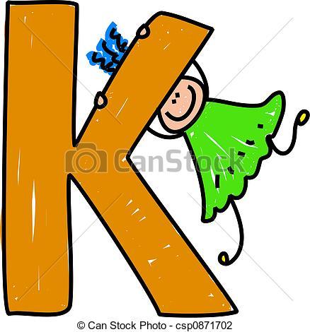 ... letter K girl - happy little girl swinging on a giant letter... ...