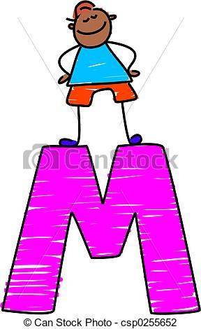 ... letter M boy - little boy standing on letter M