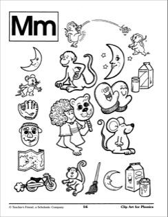 Letter Mm Illustrations: Phonics Clip Art