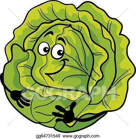 Lettuce (Lactuca sativa) vintage engraving; cute cabbage vegetable cartoon  illustration