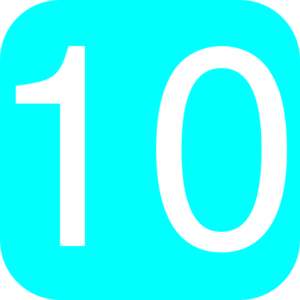 Light Blue, Rounded, Square With Number 10 Clip Art