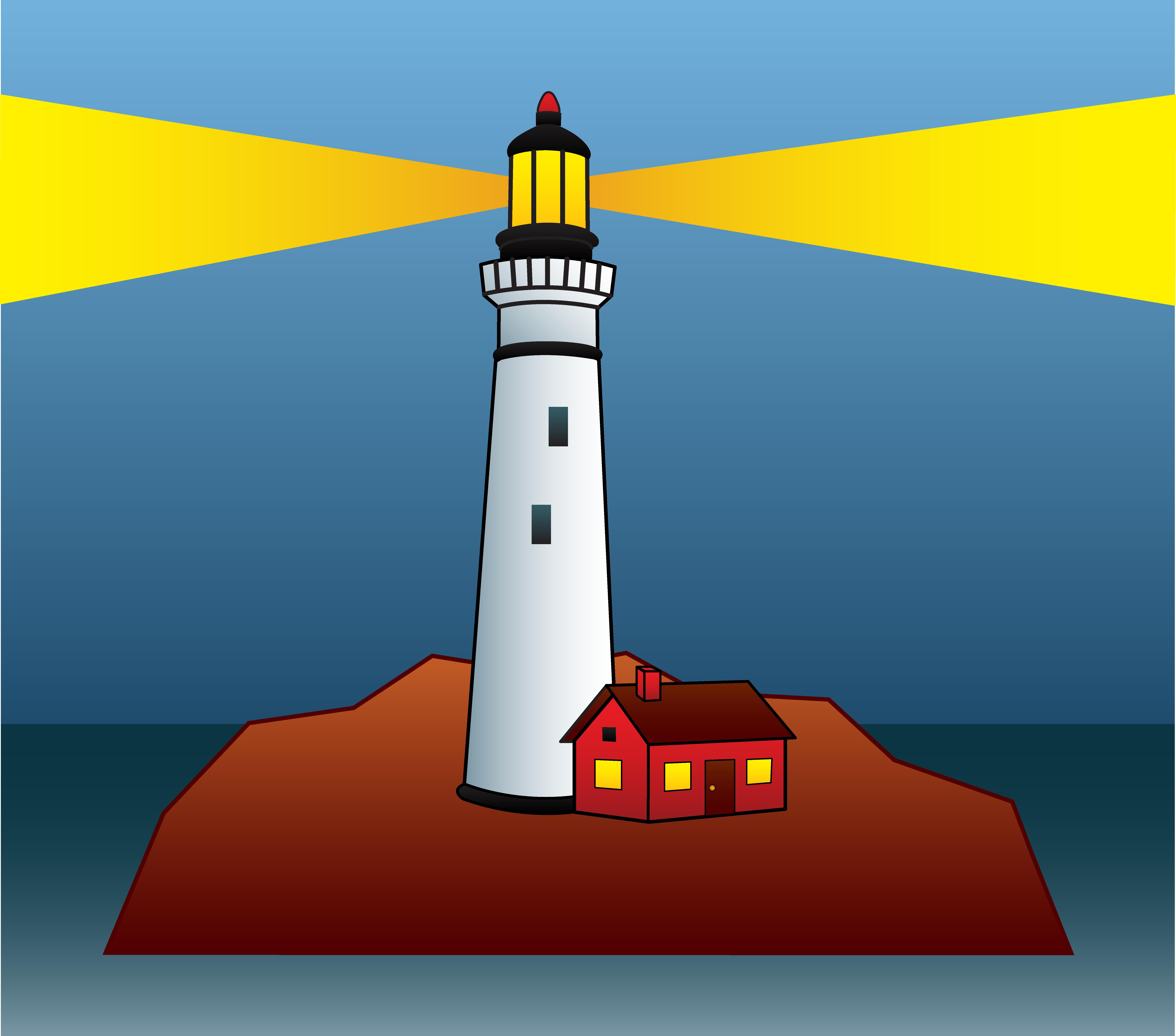 Lighthouse Shining Light At Night - Free Clip Art