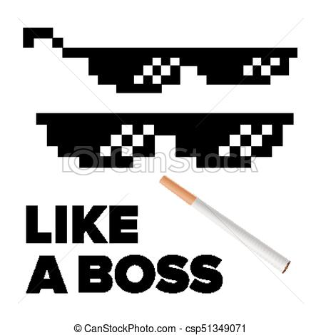 Black Pixel Glasses Vector. Thug Lifestyle. For Meme Photos And Pictures.  Deal With It. Isolated Illustration