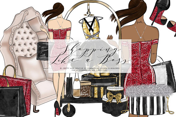 Shopping Like a Boss Clipart Set, Shopping Day, Girl Boss, Fashion Girl,  Glam Clipart, Glitter Clipart, Watercolor Clipart, Red Clipart