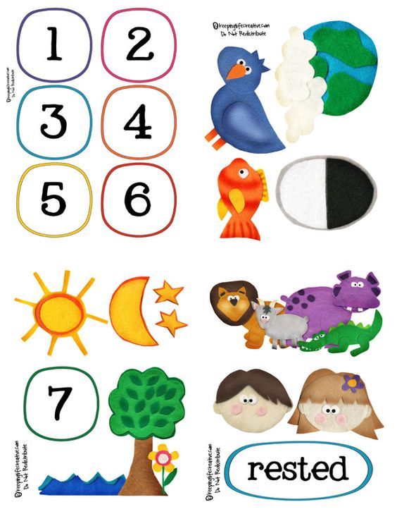 Like this cute clipart to teach the creation! Also have Jonah and the whale. This pattern is a felt story set.