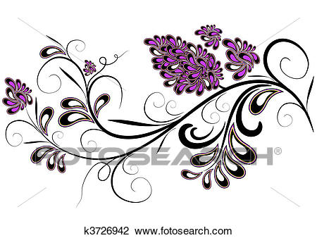 Clipart - Decorative branch with lilac flower. Fotosearch - Search Clip Art,  Illustration Murals