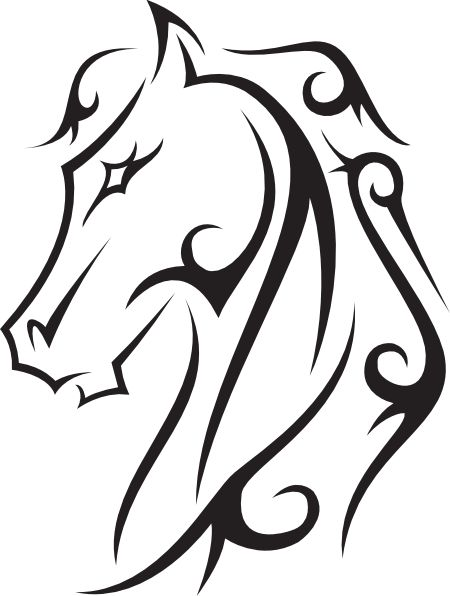 Line drawings hoeses | Horse Tattoo clip art - vector clip art online, royalty free public .