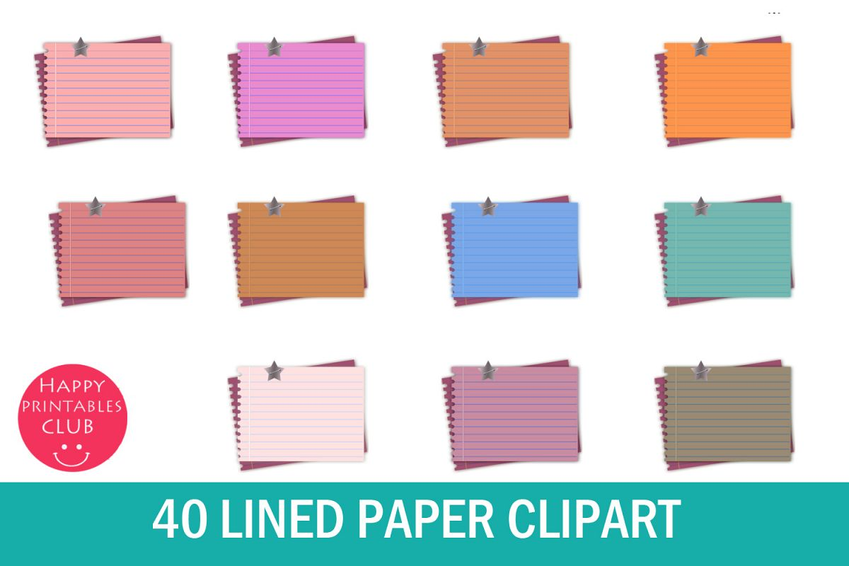 40 Lined Paper Clipart- Lined Notebook Page Clipart Images example image 1