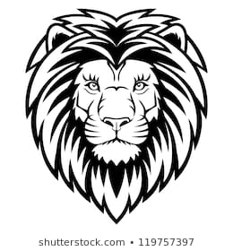 A Lion head logo in black and white. This is vector illustration ideal for a