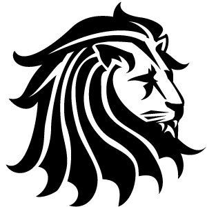 black and white clipart | Tags: Lion , Animal , Head , Black And White ,