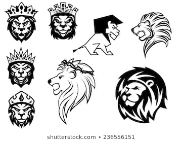 Black and white heraldic lions heads for emblem, heraldry and animal King  concept design