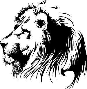 clip art black and white | ai cdr format vector. Black and white clip art  lion head
