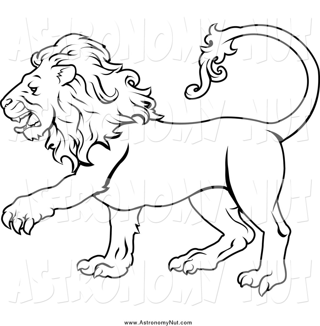 clipart lion black and white
