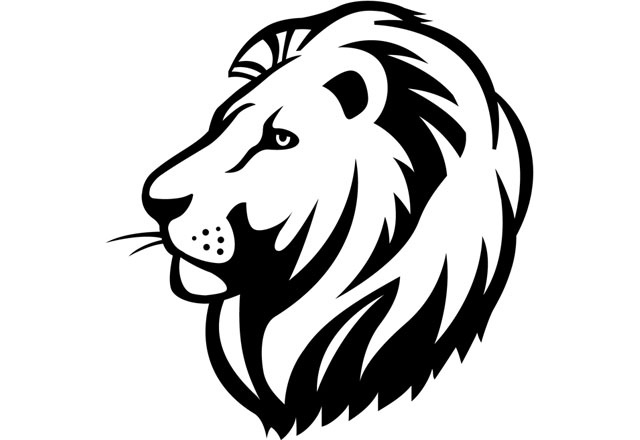 Inspirational of head black and white letter. Lion clipart simple.
