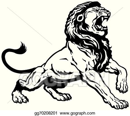 roaring lion black white