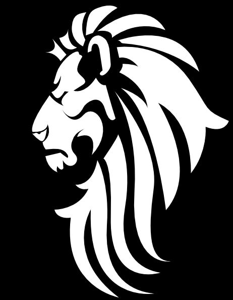 White Lion clipart silhouette - Lion Clipart Black And White