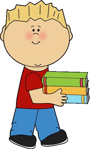 Little Boy Carrying a Stack of Books Clip Art - Little Boy