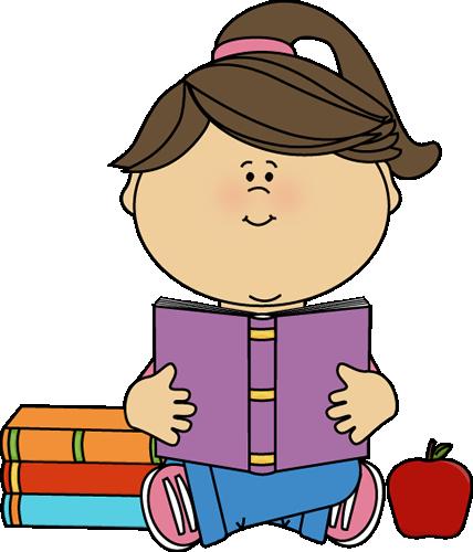 Little Girl Reading a School Book