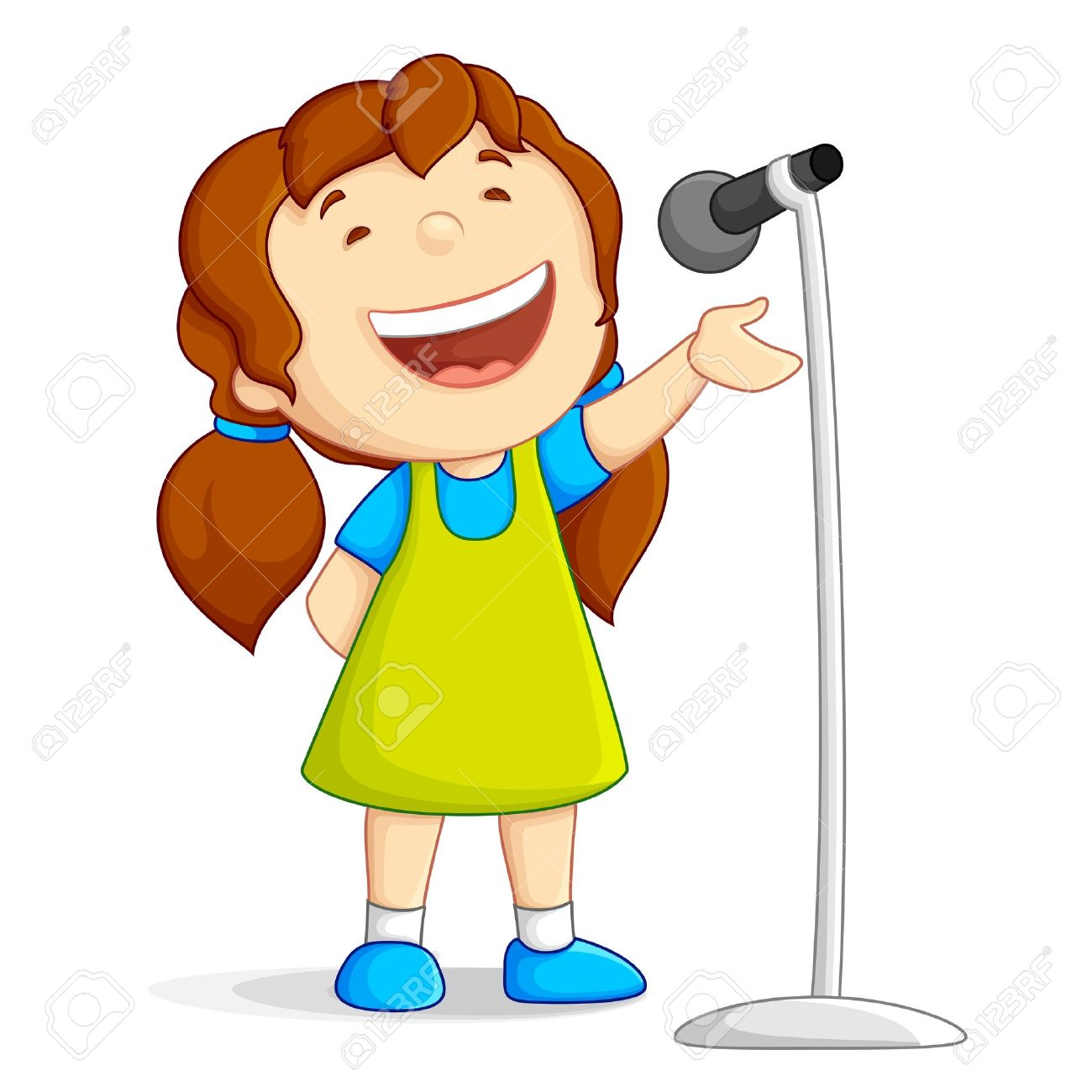 Little Girl Singing Clipart .