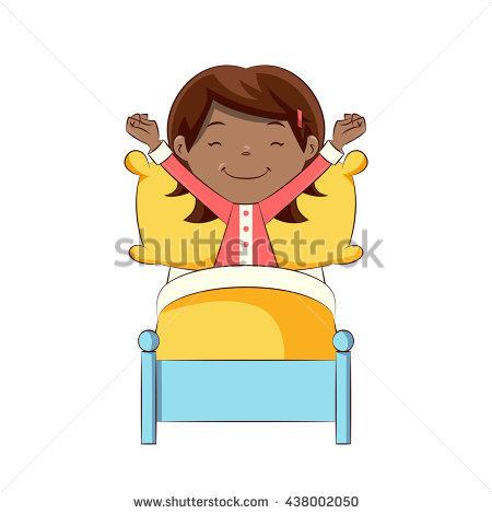 Little girl waking up, vector illustration