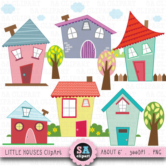 Little Houses Digital Clip Art u0026quot;HOUSES CLIP ARTu0026quot; Set, Houses Clipart, Cute House, perfect for scrapbooking,invitations,party card Bd001