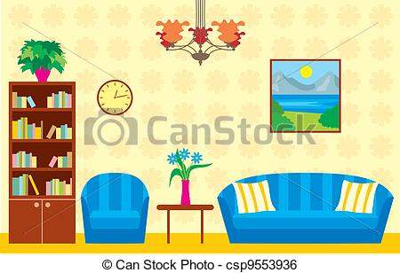 ... Living room - Vector illustration, color full