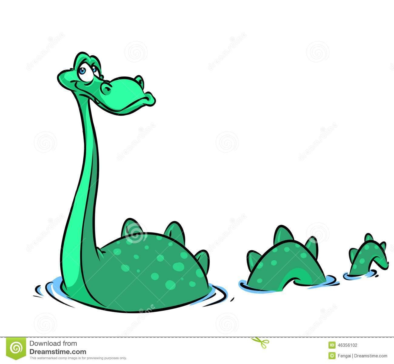 Loch Ness monster cartoon illustration