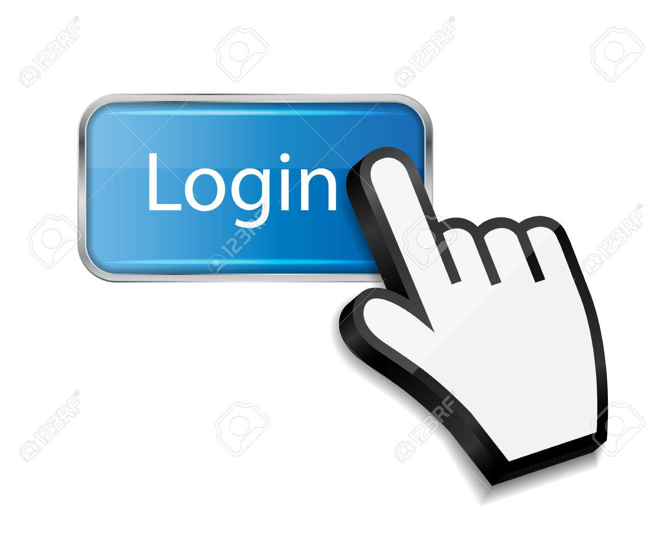 Mouse hand cursor on login button vector illustration Stock Vector -  25247409