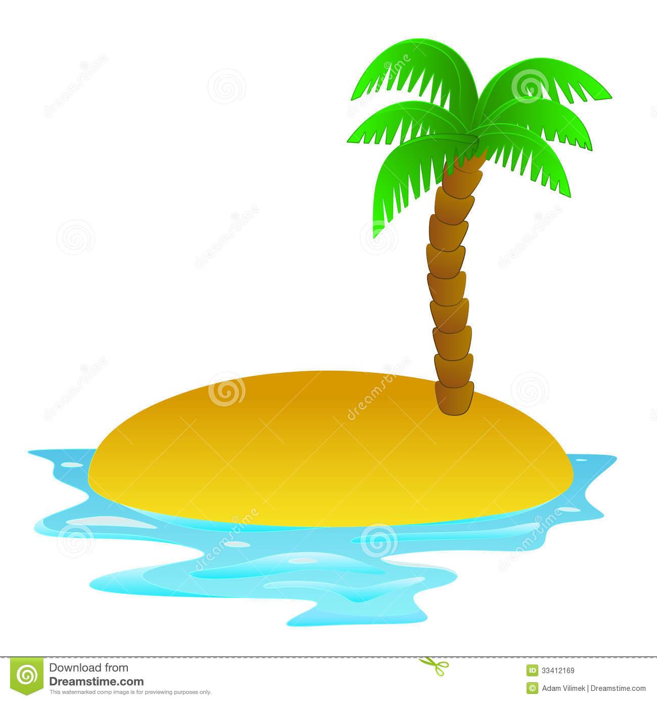 Lonely Tropical Sandy Island Clip Art Illustration