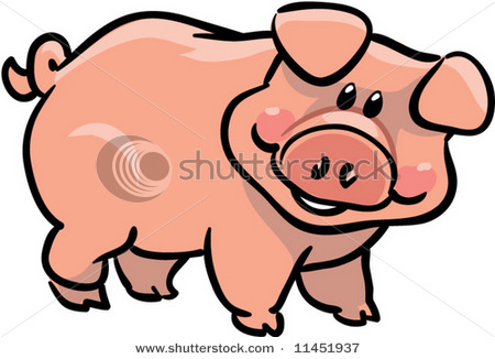Looking Pig With A Smile Standing Up In A Vector Clip Art Illustration