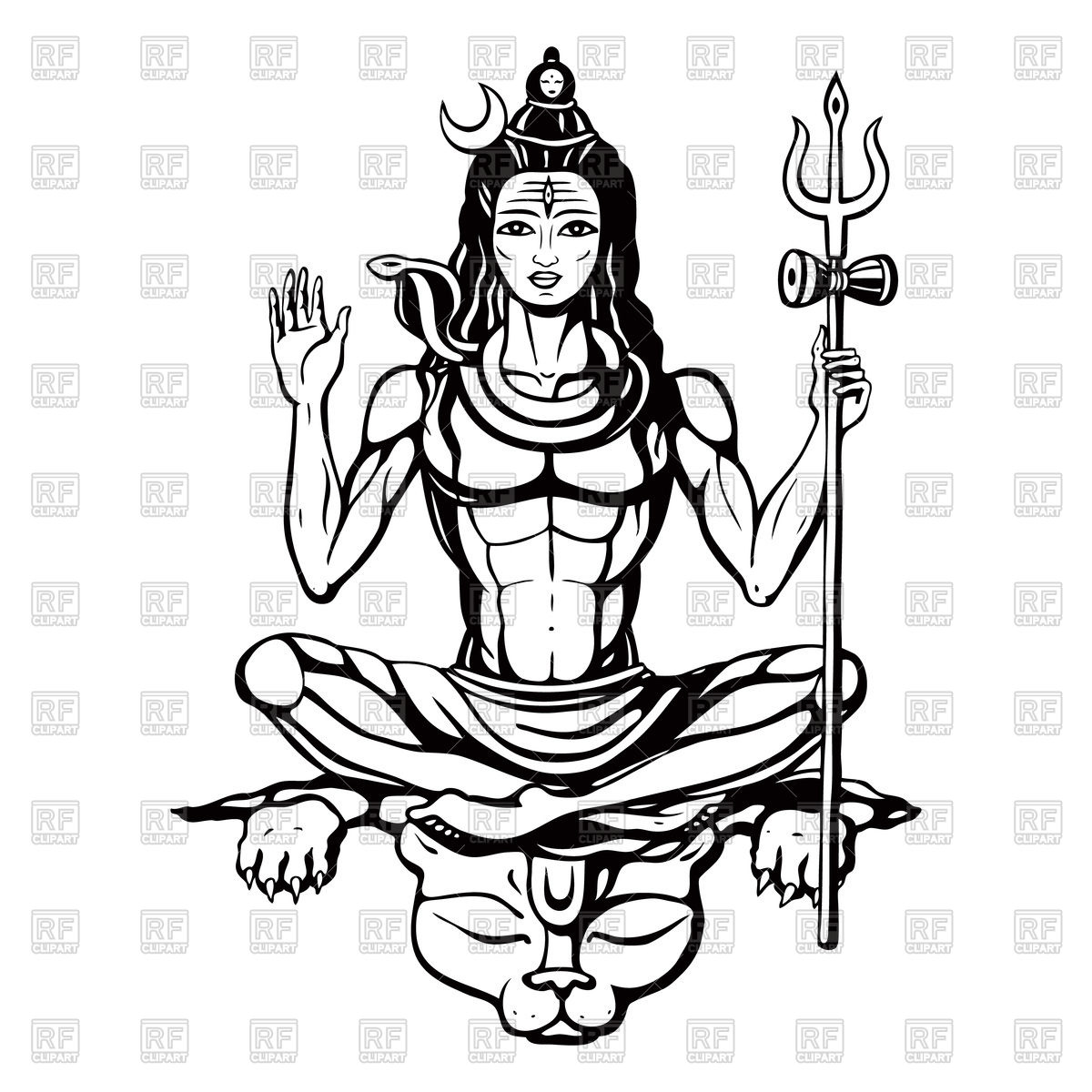 Lord Shiva - Hindu god Royalty Free Vector Clip Art