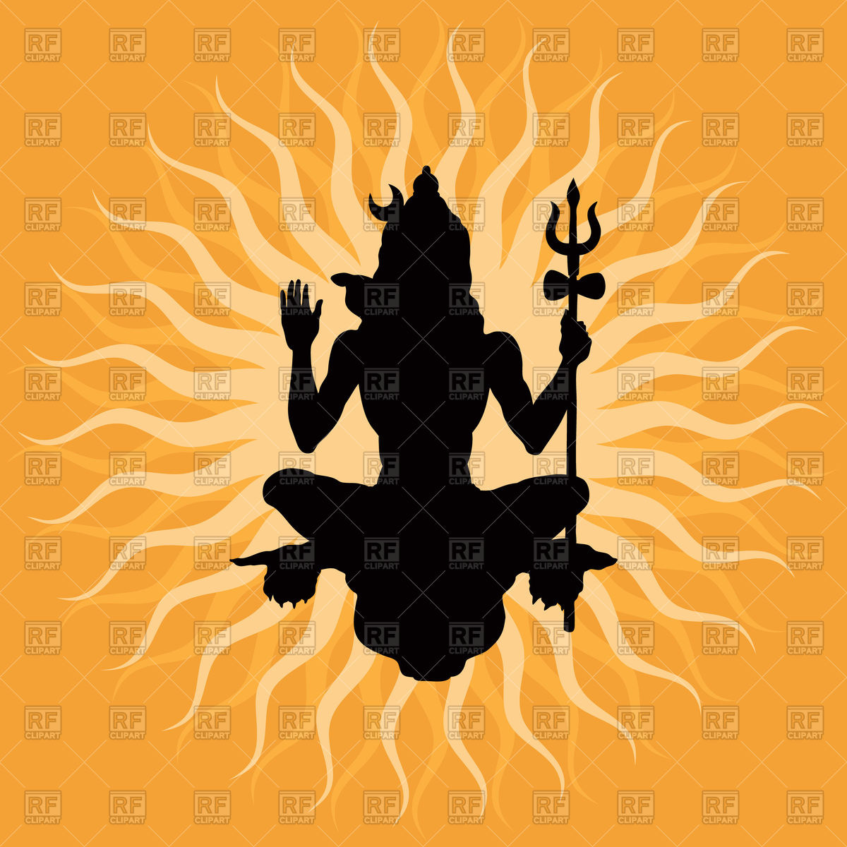 Lord Shiva silhouette Royalty Free Vector Clip Art