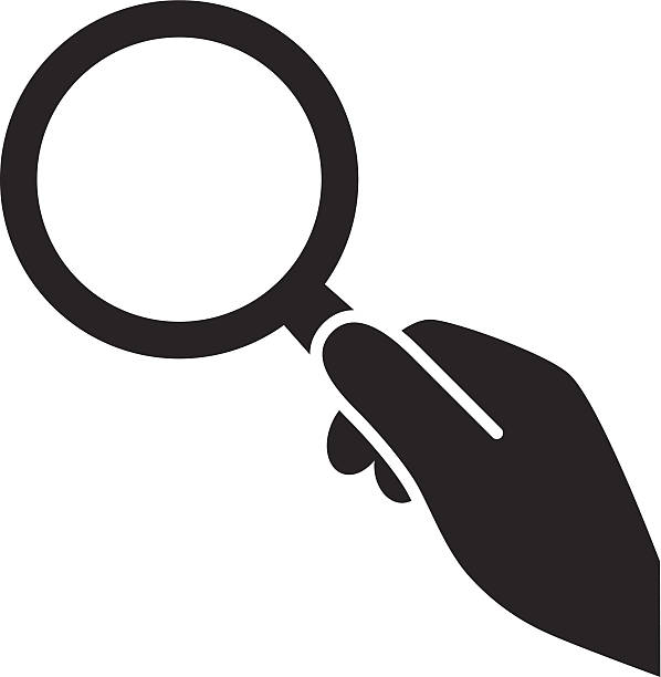 hand with magnifying glass ic - Loupe Clipart