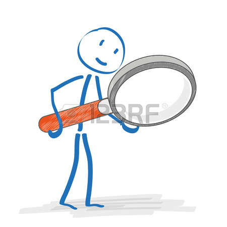 Stickmen with loupe on the white background. Eps 10 vector file.