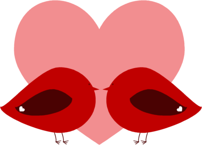 Love Birds Clip Art. Red Valentine Love Birds