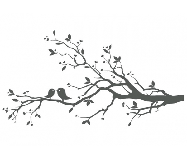 Love Birds On Branch X Free Images At Clker Com Vector Clip Art