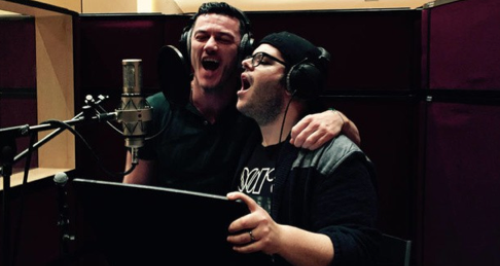 Luke Evans and Josh Gad recording songs fro beauty. u0027