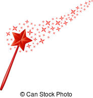 ... Magic wand with stars in red design on white background