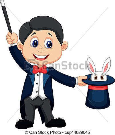 ... Magician pulling out a rabbit from - Vector illustration of.
