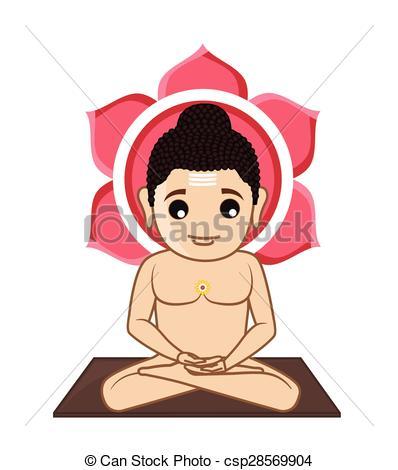 Lord Mahavira Cartoon God - csp28569904