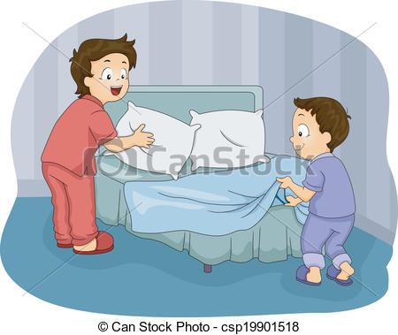 Boys Making Bed - csp19901518