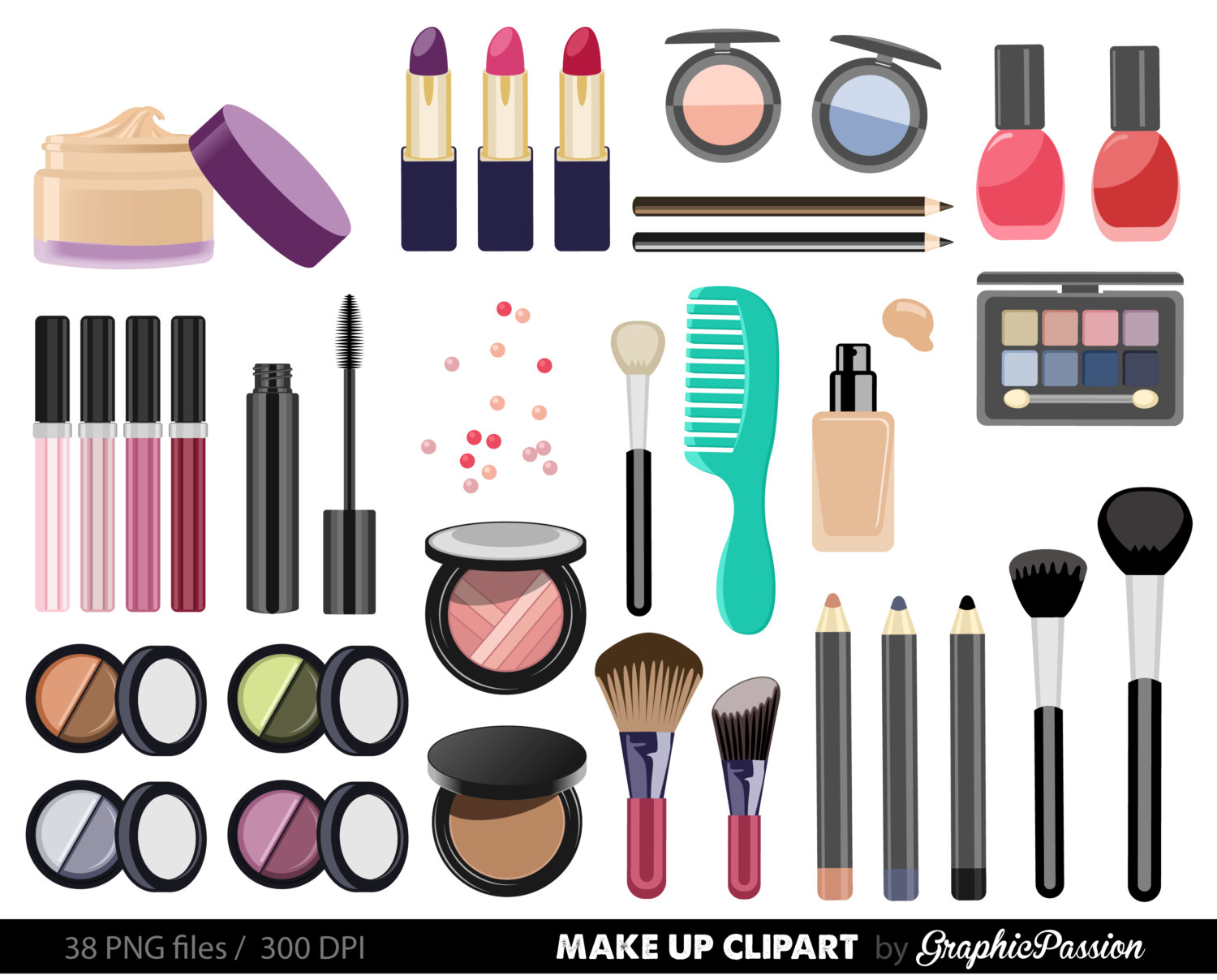 Popular items for make up clipart