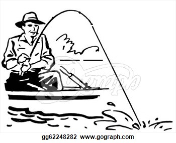 Man Fishing Clip Art Stock Illustration A Black And White Version Of