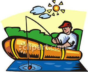Man Fishing In A Boat On A ..