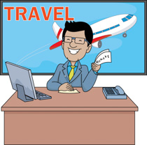 Man holding travelling bags and smiling travelling clipart. Size: 60 Kb