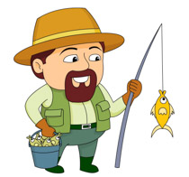 Man Wearing Fishing Vest With - Fishing Clipart
